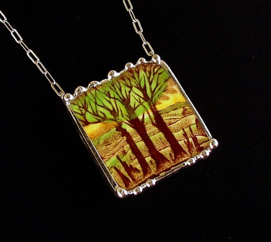 Art Nouveau trees necklace made from a broken china plate by Dishfunctional Designs