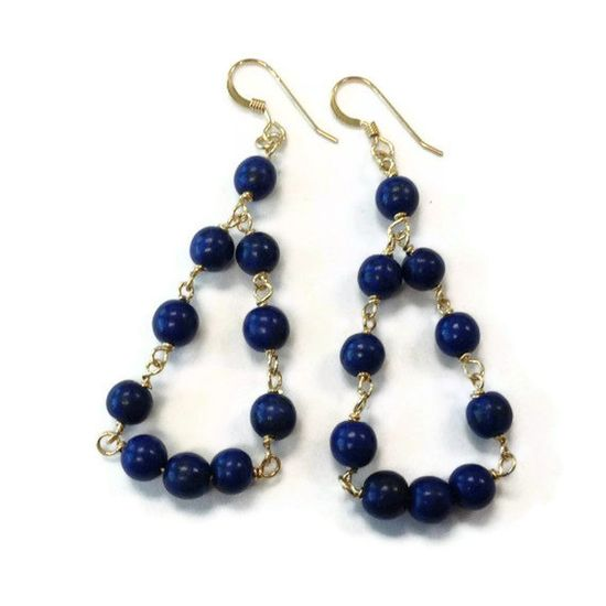 Navy Blue Earrings Gold Jewelry Turquoise by jewelrybycarmal, $25.00