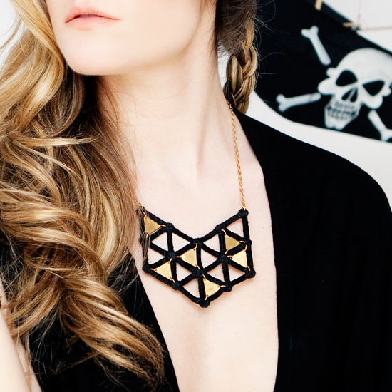 Leeloo Geoplate Necklace - lace & brass triangle plates necklace