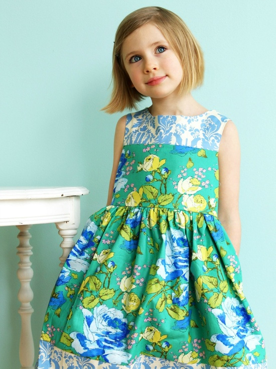 Fabric love here!!! Girls Spring Easter Dress-   Emerald Blooms Pocket Party Dress. $60.00, via Etsy.