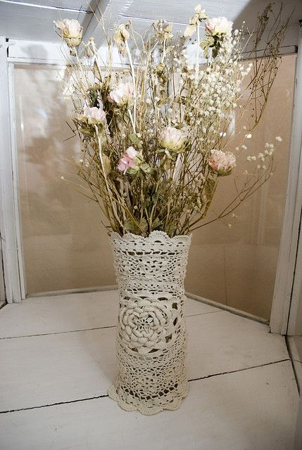 Shabby Chic Wrapped Doilie Vase - hmmm...wonder if I could do this for the living room.