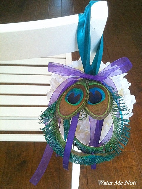 Peacock Hydrangea Kissing Ball Pomander Ball for by WaterMeNot, $35.00