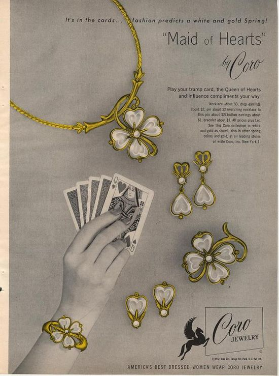 Coro's charming Maid of Hearts line. #vintage #jewelry #ads