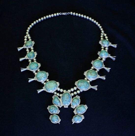 Vintage Native American Turquoise and Silver Squash Blossom Necklace