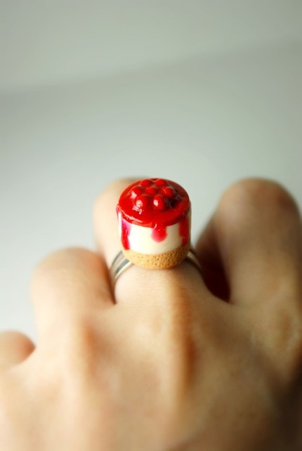 Cherry Cheesecake Ring : Made of Polymer Clay.