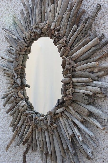 {diy driftwood mirror}
