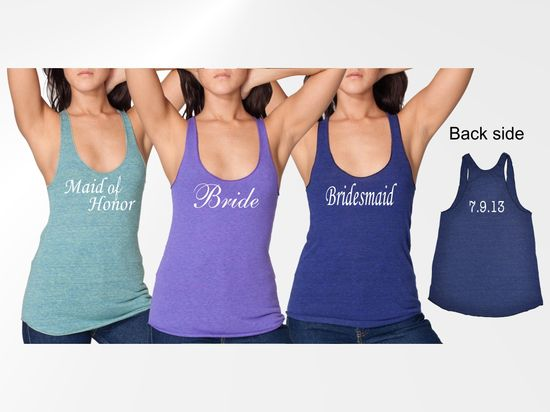 Personalized tanks for the entire bridal party!