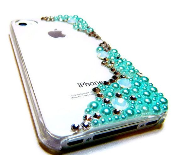 The Mermaid iPhone 4 4s Cell Phone Case w Crystals by CarleaPink