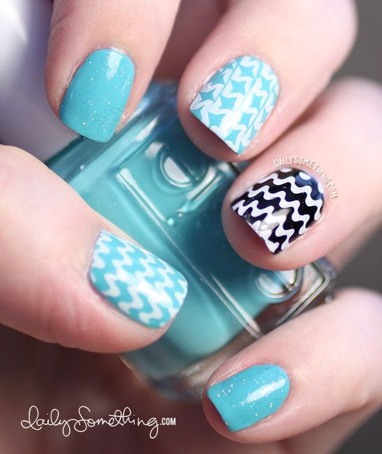 Aqua & Black Stamped Pattern Manicure - Daily Something