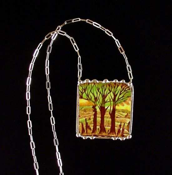 Necklace made from a broken plate by Dishfunctional Designs broken china jewelry Art Deco trees English transferware