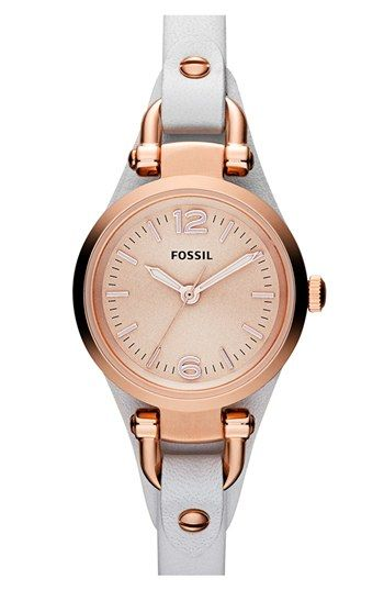 Fossil 'Small Georgia' Leather Strap Watch, 26mm