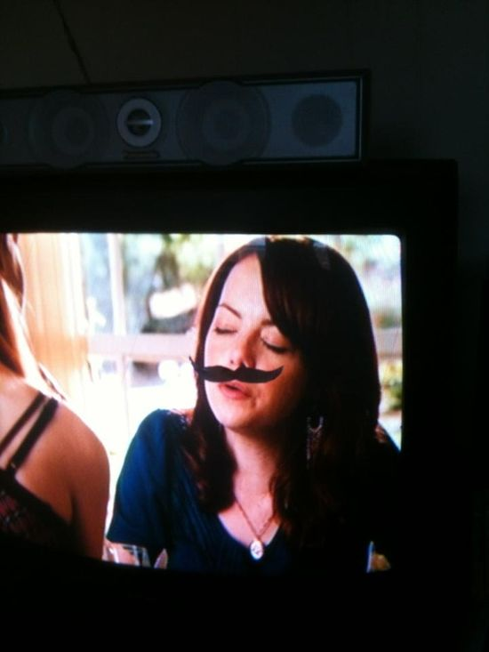 Step 1: Attach a mustache to your TV.   Step 2: Drink when it lines up to someone's face.