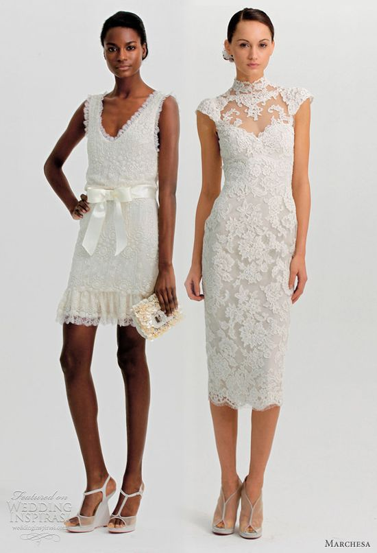 Short wedding dresses: frill-trimmed shift with and high-collar, qipao style cap sleeve dress in lace. #weddingdress
