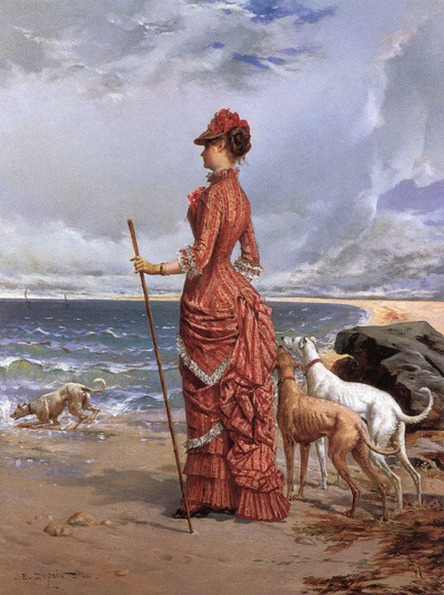 "Edmond-Louis Dupain (French, b. 1847), ""Elegant Lady Walking Her Greyhounds on the Beach"""
