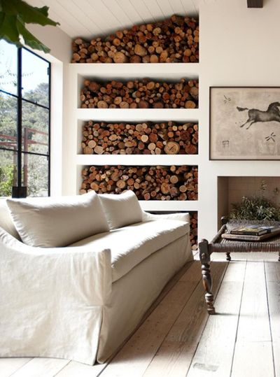 A stylish way to store firewood @ The Ranch Malibu