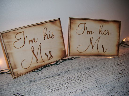 Mr & Mrs wedding signs rustic country wedding