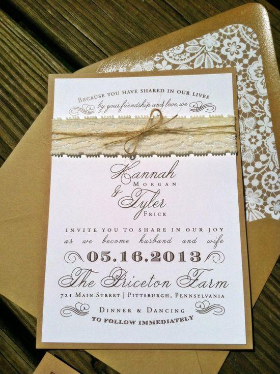Lace rustic invite - LOVE
