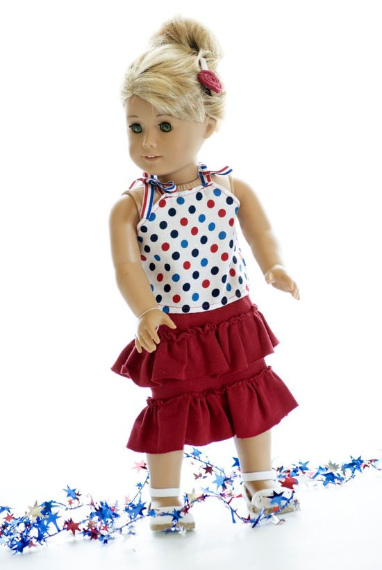American Girl 18 Doll Clothes Ruffle Skirt and by MyDressedUpDoll, $15.00