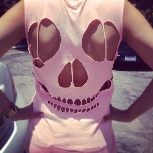 cute diy fashion (:  #skull #shirt