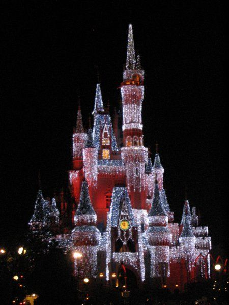 Christmas Lights on Cinderella Castle at the Magic Kingdom during the Holidays