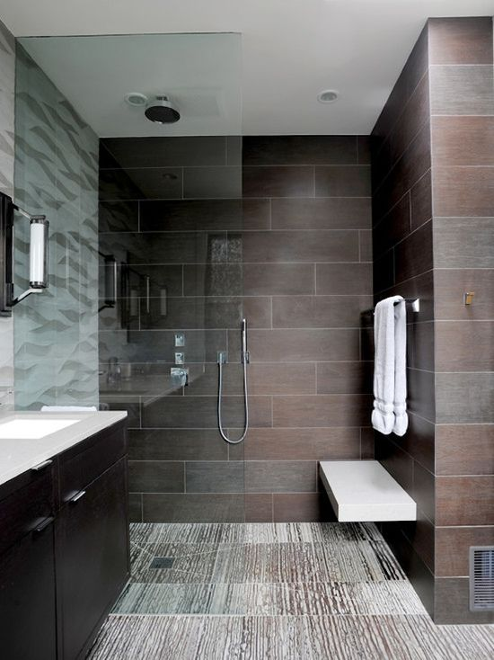 Dark and #masculine #modern #bathroom #design. How great is that #tile?