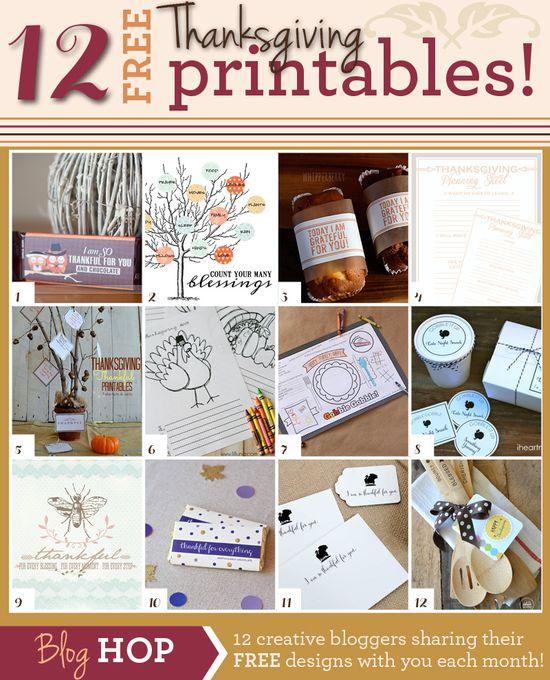 12 FREE Thanksgiving Printables on iheartnaptime.com