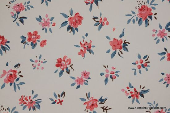 1950s Vintage Wallpaper tiny pink flowers on white background blue accents. vintage wallpapers for projects