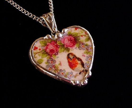 Broken china jewelry heart pendant necklace Vintage robin and roses in wreath of forget me nots