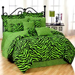Green Striped Zebra Bedroom