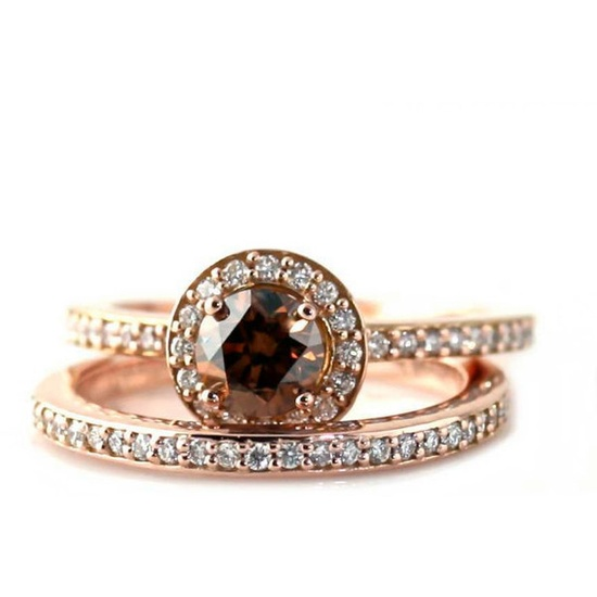14K Chocolate Diamond Wedding Set Engagement Ring Fancy Champagne... ($2,923) ? liked on Polyvore