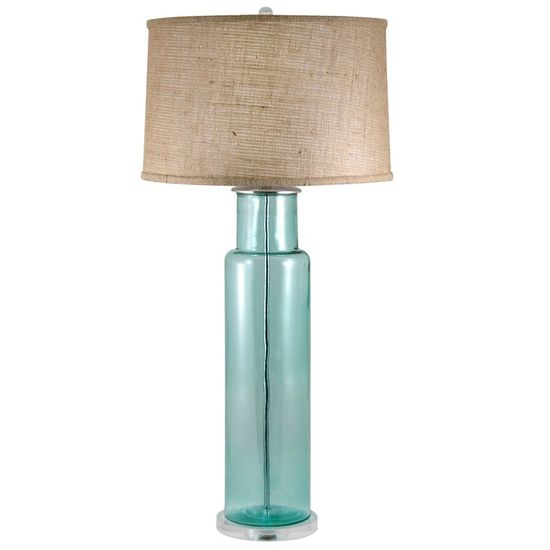 Lamp Works Recycled Glass Blue Cylinder Table Lamp