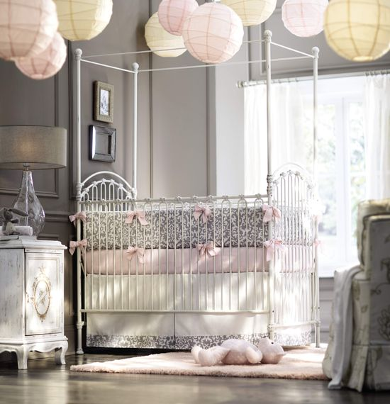 A nursery for a baby girl. #itsybitsy HomeDecorators.com