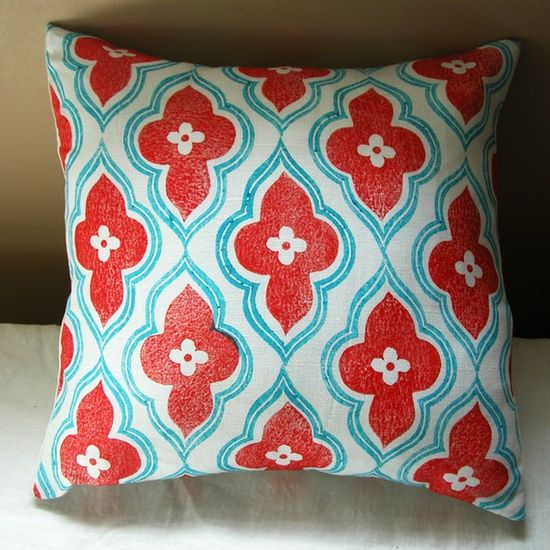 red and turquoise hand printed linen ogee design home decor pillow case (sitting room)