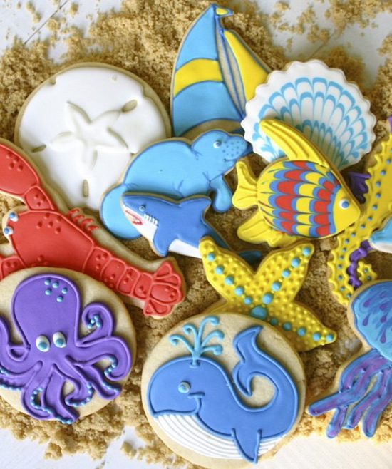 Ocean, Underwater Decorated Cookies