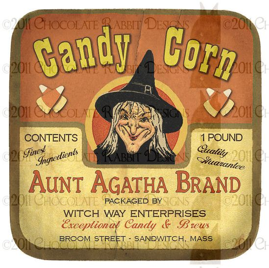 Vintage Halloween Witch Candy Label