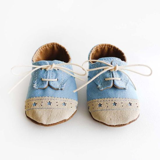 Baby Shoes Boy or Girl Baby Blue Canvas with Brogued Leather by ajalor, $33.00