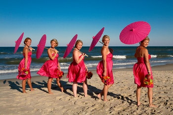 Wedding, Pink, Bridesmaids, Beach, Parasol, Umbrella