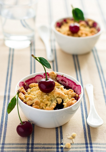 Beautifully styled little bowls of delicious Cherry Crumble. #crumble #cherry #food #fruit #baking #dessert #summer