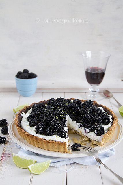 Blackberry, lime and mascarpone tart