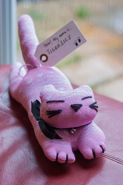Tigerlily the Sock Cat  Upcycled Soft Toy  20 Off by milophoto, £8.00