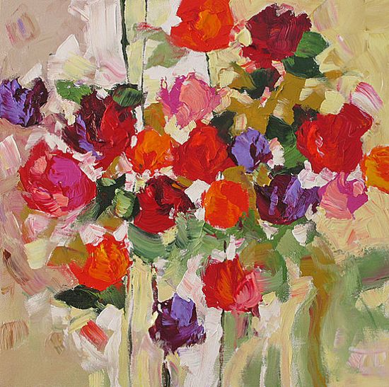 Flower Painting Original Abstract Art Roses