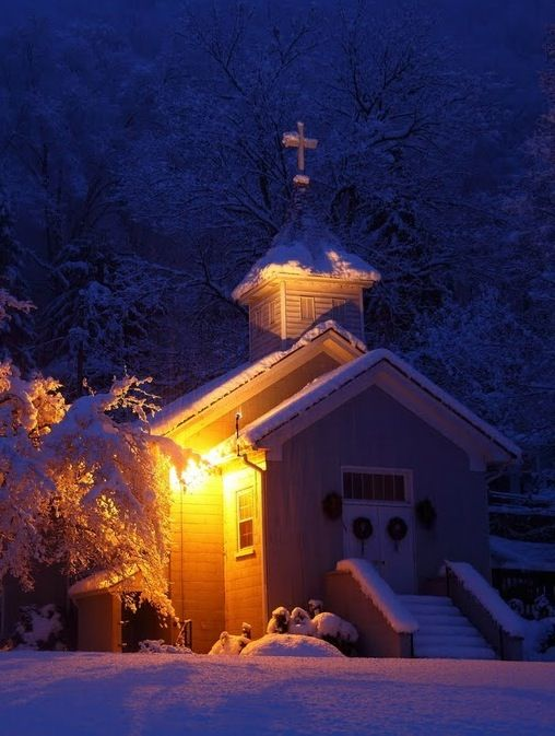 Chapel in the snow  This looks soooo much like my little country church!