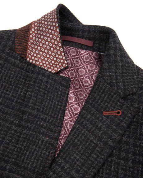 Check wool blazer -