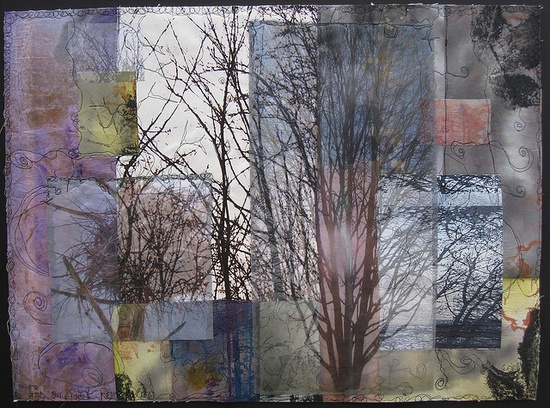 'Trees Seen, Forest Remember' - images of favorite trees mounted on canvas with stitching -http://wenredmond.com/