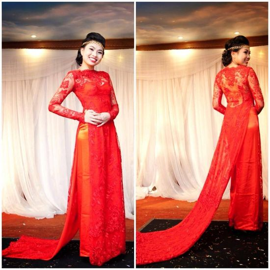 Lace #aodai with train for #wedding