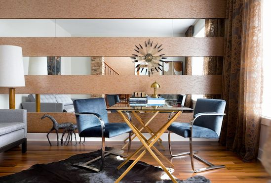 Toronto Interior Design Group - Amazing office design with mirrored walls, glass-top ...