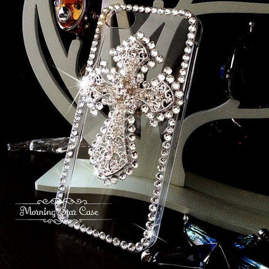 iPhone 5 Case - iPhone 4/4s Case - Bling iPhone Case, Crystal iPhone Case, iPhone Cover, Cross Diamond Clear iPhone Case on Etsy, $19.99