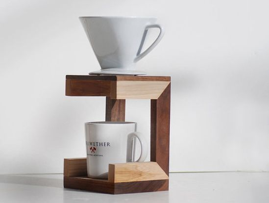 A handcrafted coffee drip stand for the design-savvy dad who likes his cup of co