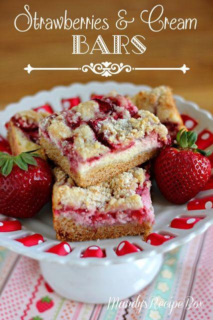 Strawberries and Cream Bars on Mandys Recipe Box. #strawberries