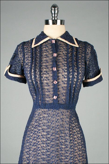 Vintage 1940s Dress  Blue Cotton Lace  Pink by millstreetvintage, $125.00